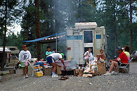 Family cooking and camping in Campground at Lake Koocanusa, near Fernie, BC, British Columbia, Canada