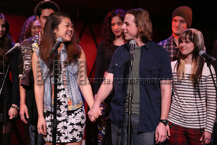 Charlotte Mary Wen and Ben Shuman  from the cast of 'One Day - The Musical' performing a sneak peek of the new pop-rock Musical at Rockwood Music Hall on January 28, 2015 in New York City.