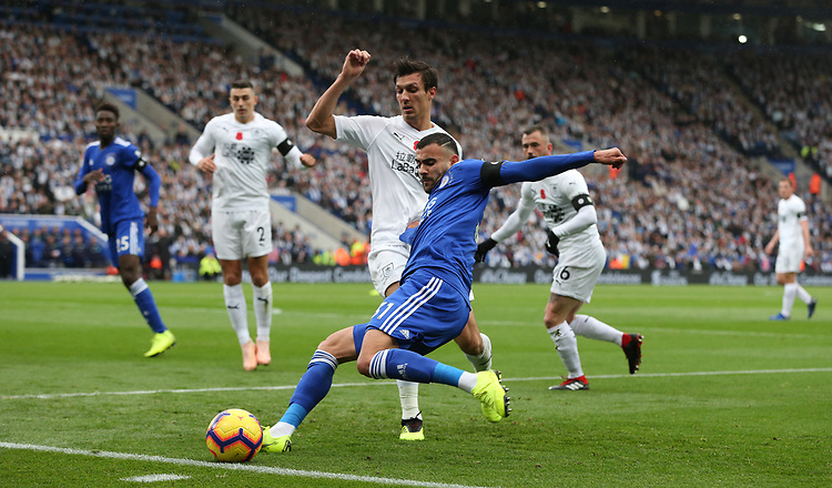 Leicester City's Rachid Ghezzal and Burnley's Jack Cork<br /> <br /> Photographer Stephen White/CameraSport<br /> <br /> The Premier League - Saturday 10th November 2018 - Leicester City v Burnley - King Power Stadium - Leicester<br /> <br /> World Copyright © 2018 CameraSport. All rights reserved. 43 Linden Ave. Countesthorpe. Leicester. England. LE8 5PG - Tel: +44 (0) 116 277 4147 - admin@camerasport.com - www.camerasport.com