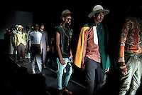 SOWETO, SOUTH AFRICA MAY 29: Models for the designer Avenue Floyd wear garments during a fashion show at Soweto Fashion Week on May 29, 2014 at the Soweto Theatre in the Jabulani section of Soweto, South Africa. Local emerging designers showed their collections during the three-day event held at the theatre. Founded in 2012, Soweto fashion week gives a platform to local designers, models and artists. (Photo by: Per-Anders Pettersson)