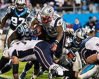 The Carolina Panthers play the New England Patriots at Bank of America Stadium in Charlotte North Carolina on Monday Night Football.  The Panthers defeated the Patriots 24-20.  New England Patriots running back Stevan Ridley (22)
