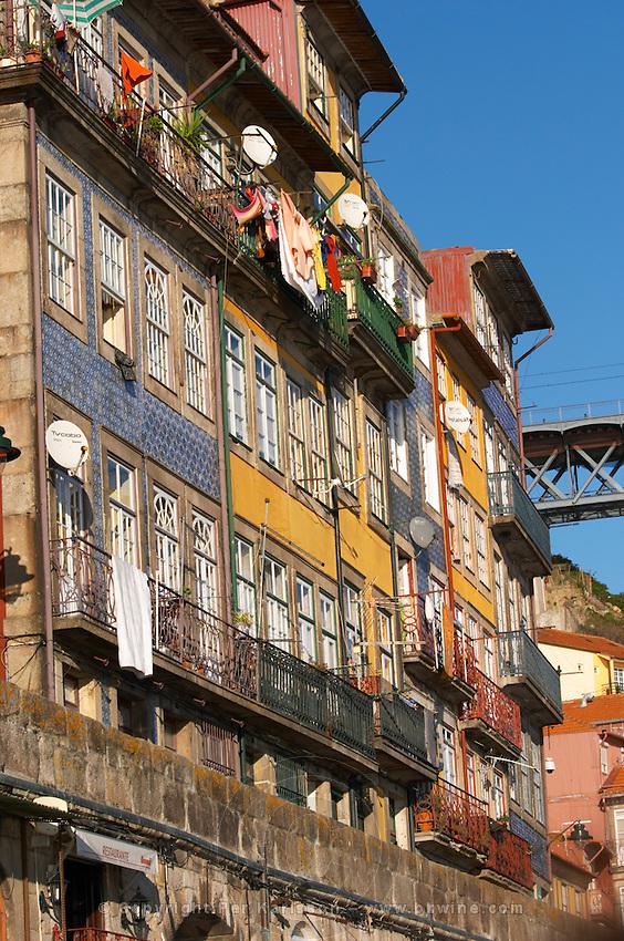 house facades cais da ribeira porto portugal