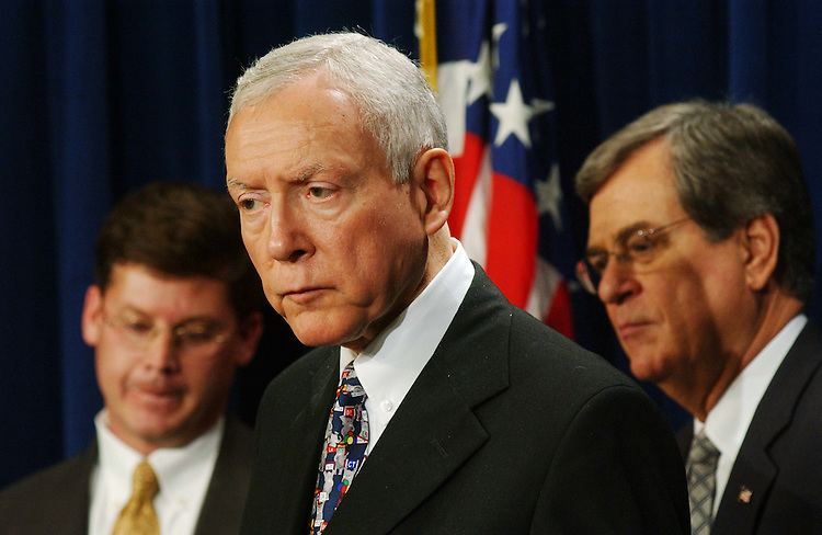 10/30/03.PICKERING CLOTURE VOTE--Rep. Charles W. 'Chip' Pickering Jr., R-Miss., son of the nominee, Senate Judiciary Chairman Orrin G. Hatch, R-Utah, and Sen. Trent Lott, R-Miss., during a news conference after a cloture vote failed to end a Democrat-led filibuster of the nomination of Charles W. Pickering Sr. to the 5th U.S. Circuit Court of Appeals, adding the Mississippi jurist to a growing list of President Bush's judicial nominees blocked by filibusters..CONGRESSIONAL QUARTERLY PHOTO BY SCOTT J. FERRELL