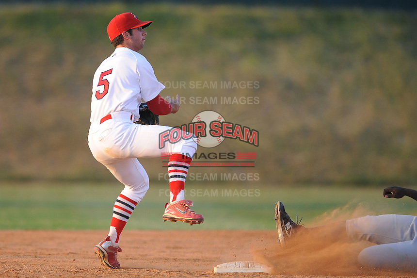 Johnson City Cardinals Greg Garcia at Howard Johnson Field in Johnson City, Tennessee July 6, 2010.   Johnson City won the game 6-5.  Photo By Tony Farlow/Four Seam Images