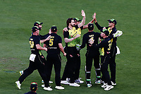 Kane Richardson of Australia celebrates with teammates for the wicket of Colin Munro of New Zealand. New Zealand Black Caps v Australia, Final of Trans-Tasman Twenty20 Tri-Series cricket. Eden Park, Auckland, New Zealand. Wednesday 21 February 2018. © Copyright Photo: Anthony Au-Yeung / www.photosport.nz