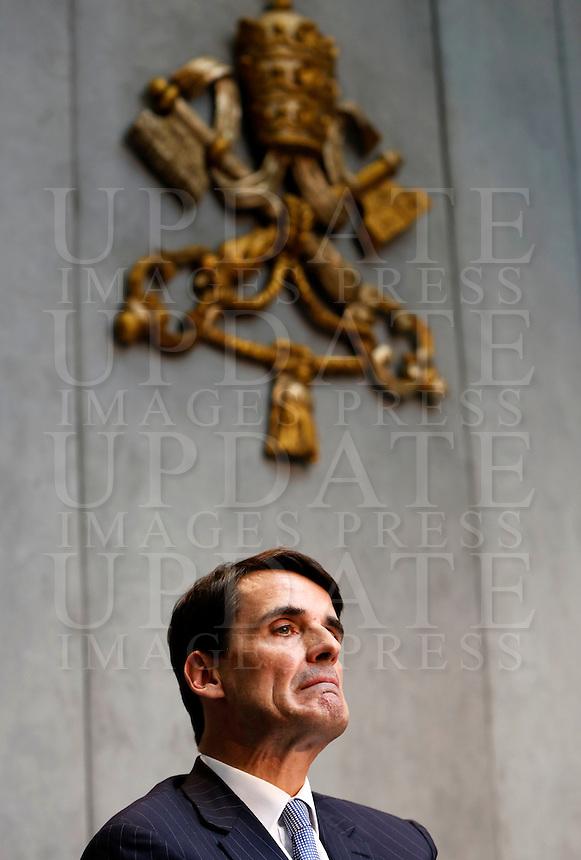 Il nuovo presidente dello IOR (Istituto per le Opere di Religione) Jean-Baptiste de Franssu, francese, durante la conferenza stampa sul nuovo quadro economico della Santa Sede presso la Sala Stampa Vaticana, 9 luglio 2014.<br /> Institute for the Works of Religion (IOR) new president Jean-Baptiste de Franssu, of France, attends a press conference at the Vatican press room, 9 July 2014.<br /> UPDATE IMAGES PRESS/Riccardo De Luca<br /> <br /> STRICTLY ONLY FOR EDITORIAL USE