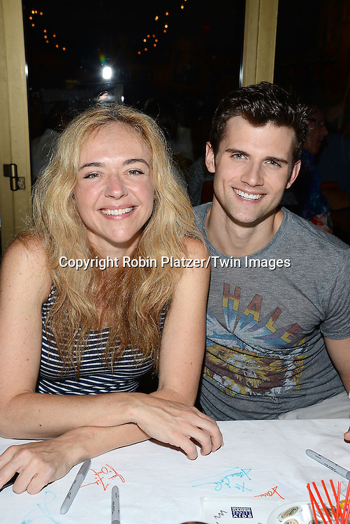 Rachel Bay Jones and Kyle Dean Massey attend the 28th Annual  Broadway Cares/ Equity Fights Aids Flea Market and Auction on September 21,2014 in Shubert Alley in New York City. <br /> <br /> photo by Robin Platzer/Twin Images<br />  <br /> phone number 212-935-0770