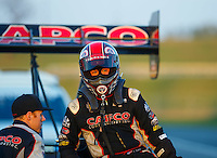 Sep 23, 2016; Madison, IL, USA; NHRA top fuel driver Steve Torrence during qualifying for the Midwest Nationals at Gateway Motorsports Park. Mandatory Credit: Mark J. Rebilas-USA TODAY Sports