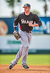 9 March 2013: Miami Marlins infielder Joe Mahoney warms up prior to a Spring Training game against the Washington Nationals at Space Coast Stadium in Viera, Florida. The Nationals edged out the Marlins 8-7 in Grapefruit League play. Mandatory Credit: Ed Wolfstein Photo *** RAW (NEF) Image File Available ***