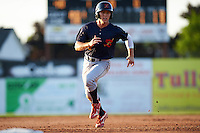 State College Spikes second baseman Danny Martin (5) running the bases during a game against the Batavia Muckdogs on June 24, 2016 at Dwyer Stadium in Batavia, New York.  State College defeated Batavia 10-3.  (Mike Janes/Four Seam Images)