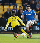 Darren McGregor takes a right sore one as his ankle bends under the challenge from Myles Hippolyte