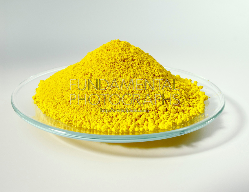 LEAD CHROMATE IN WATCHGLASS<br /> PbCrO4<br /> (Variations Available)<br /> Yellow to orange-yellow crystalline compound, used as a paint pigment and dye.  Also known as Chrome Yellow, Cologne Yellow, King's Yellow.