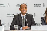 Pressegespraech zur Verleihung des 9. Amnesty Menschenrechtspreises am 16. April 2018 in Berlin.<br /> Amnesty International vergibt den Menschenrechtspreis 2018 an das Nadeem-Zentrum in Kairo als ein Zeichen gegen Folter in Aegypten.<br /> Stellvertretend fuer das Nadeem-Zentrum nahm der aegyptische Arzt und Menschenrechtsaktivist Taher Mukhtar entgegen, da die Betreiber des Zentrums nicht aus Aegypten ausreisen duerfen.<br /> Im Bild: Markus N. Beeko, Generalsekretaer von Amnesty International in Deutschland.<br /> 16.4.2018, Berlin<br /> Copyright: Christian-Ditsch.de<br /> [Inhaltsveraendernde Manipulation des Fotos nur nach ausdruecklicher Genehmigung des Fotografen. Vereinbarungen ueber Abtretung von Persoenlichkeitsrechten/Model Release der abgebildeten Person/Personen liegen nicht vor. NO MODEL RELEASE! Nur fuer Redaktionelle Zwecke. Don't publish without copyright Christian-Ditsch.de, Veroeffentlichung nur mit Fotografennennung, sowie gegen Honorar, MwSt. und Beleg. Konto: I N G - D i B a, IBAN DE58500105175400192269, BIC INGDDEFFXXX, Kontakt: post@christian-ditsch.de<br /> Bei der Bearbeitung der Dateiinformationen darf die Urheberkennzeichnung in den EXIF- und  IPTC-Daten nicht entfernt werden, diese sind in digitalen Medien nach &sect;95c UrhG rechtlich geschuetzt. Der Urhebervermerk wird gemaess &sect;13 UrhG verlangt.]