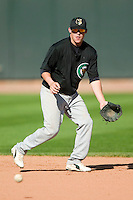Kane County second baseman Larry Cobb (2) takes infield practice at Fifth Third Field in Dayton, OH, Monday, May 7, 2007.