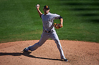 Salt River Rafters pitcher Matt Carasiti (11) delivers a pitch during an Arizona Fall League game against the Surprise Saguaros on October 20, 2015 at Salt River Fields at Talking Stick in Scottsdale, Arizona.  Surprise defeated Salt River 3-1.  (Mike Janes/Four Seam Images)