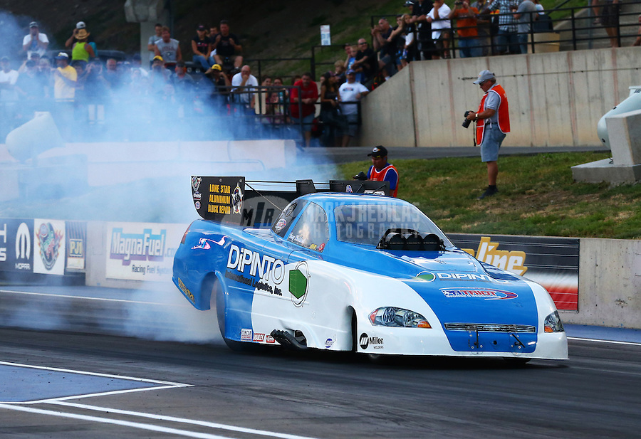 Jul. 19, 2013; Morrison, CO, USA: NHRA funny car driver Terry Haddock during qualifying for the Mile High Nationals at Bandimere Speedway. Mandatory Credit: Mark J. Rebilas-