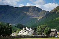 Wasdale Head Inn in Wasdale Valley by Scafell Pike and Scafell and Wastwater in the Lake District National Park, Cumbria, UK