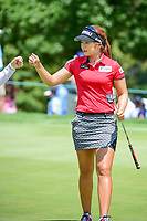 Jeongeun6 Lee (KOR) fist bumps with her caddie after sinking a birdie putt on 1 during Sunday's final round of the 72nd U.S. Women's Open Championship, at Trump National Golf Club, Bedminster, New Jersey. 7/16/2017.<br /> Picture: Golffile | Ken Murray<br /> <br /> <br /> All photo usage must carry mandatory copyright credit (&copy; Golffile | Ken Murray)