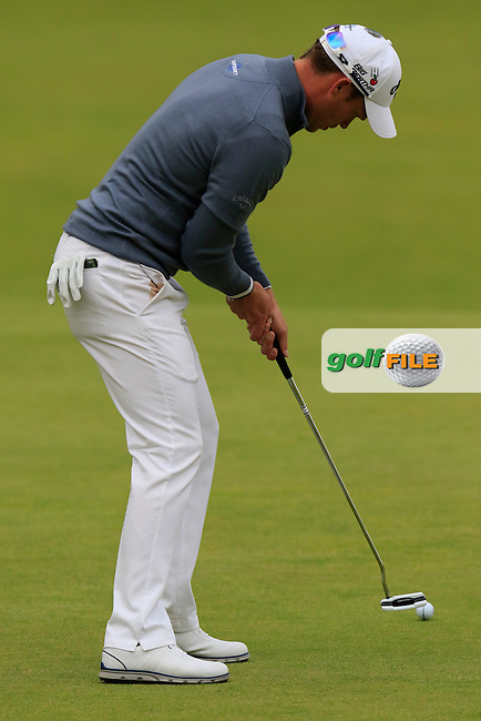 Danny WILLETT (ENG) takes his birdie putt on the 18th green during Sunday's Round 3 of the 144th Open Championship, St Andrews Old Course, St Andrews, Fife, Scotland. 19/07/2015.<br /> Picture Eoin Clarke, www.golffile.ie
