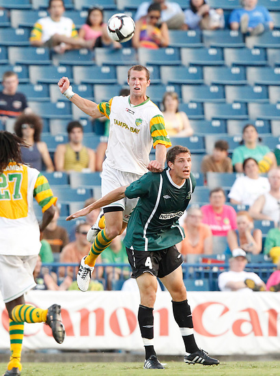 JULY 22, 2010; TAMPA, FLORIDA: Defender Rob Valentino #2 of the FC Tampa Bay Rowdies during a game against the Rochester Rhinos at Steinbrenner Field in Tampa, Florida. The Rhinos won 1-0. Photo by Matt May/FC Tampa Bay Rowdies