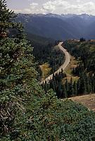 AJ3654, Olympic National Park, Hurricane Ridge Road, Washington, Olympic Peninsula, Hurricane Ridge Road winds through the mountainous terrain of Olympic National Park in the state of Washington.
