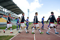Members of the US U-17 men's team take the field during the first day of the group stage at the CONCACAF Men's Under 17 Championship at Catherine Hall Stadium in Montego Bay, Jamaica. The United States defeated Cuba, 3-1.