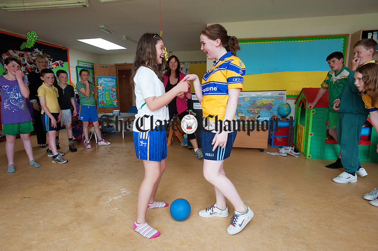 """Sixth class playing """"Snatch The Bacon"""" during their Active Schools Week to celebrate St Flannan's  National School, Inagh's achievement in being the first primary school in Clare to attain the Active Schools Flag. Photograph by John Kelly."""