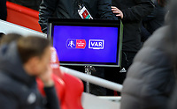 The VAR screen is seen in the tunnel area<br /> <br /> Photographer Alex Dodd/CameraSport<br /> <br /> Emirates FA Cup Third Round - Liverpool v Everton - Sunday 5th January 2020 - Anfield - Liverpool<br />  <br /> World Copyright © 2020 CameraSport. All rights reserved. 43 Linden Ave. Countesthorpe. Leicester. England. LE8 5PG - Tel: +44 (0) 116 277 4147 - admin@camerasport.com - www.camerasport.com