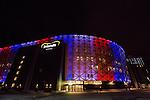 Solna 2015-11-14 Fotboll EM-kval , Sverige - Danmark :  <br /> Friends Arena &auml;r upplyst i Frankrikes f&auml;rger f&ouml;r att hedra offren f&ouml;r terrorattacken i Paris i fredags i samband med matchen i EM-kvalet mellan Sverige och Danmark <br /> (Photo: Kenta J&ouml;nsson) Keywords:  Sweden Sverige Solna Stockholm Friends Arena EM Kval EM-kval UEFA Euro European 2016 Qualifying Qualifier Playoff Denmark Danmark utomhus exteri&ouml;r exterior Frankrike Paris