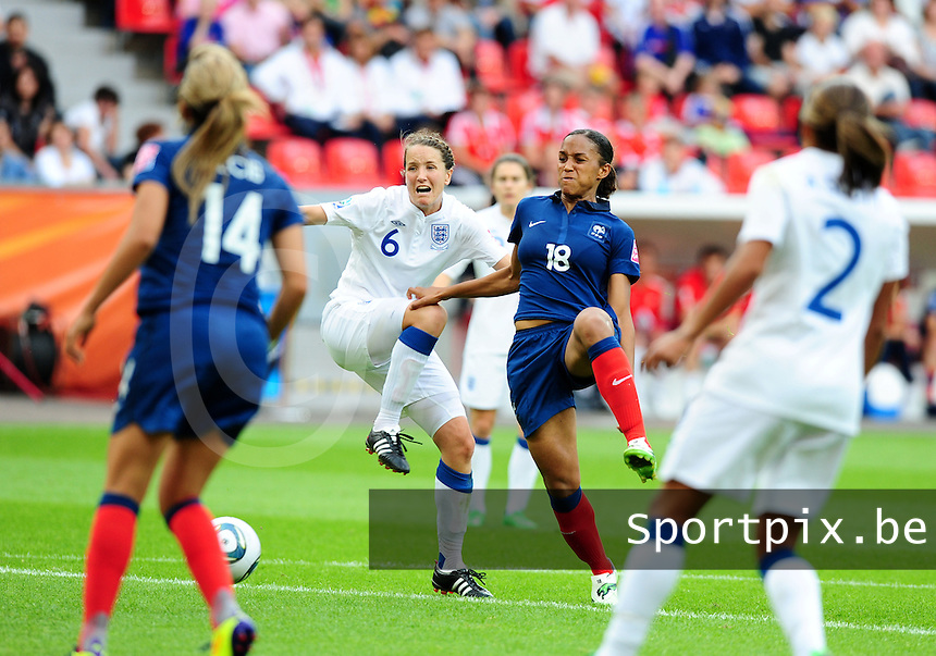 Fifa Women's World Cup Germany 2011 : England - France - at Leverkusen :  Marie-Laure Delie in duel met Casey Stoney.foto DAVID CATRY / Vrouwenteam.be