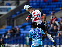 Bolton Wanderers' Dennis Politic (top) beats Coventry City's Fankaty Dabo in the air<br /> <br /> Photographer Andrew Kearns/CameraSport<br /> <br /> The EFL Sky Bet Championship - Bolton Wanderers v Coventry City - Saturday 10th August 2019 - University of Bolton Stadium - Bolton<br /> <br /> World Copyright © 2019 CameraSport. All rights reserved. 43 Linden Ave. Countesthorpe. Leicester. England. LE8 5PG - Tel: +44 (0) 116 277 4147 - admin@camerasport.com - www.camerasport.com