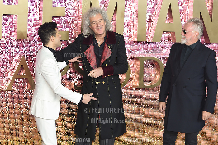 """LONDON, UK. October 23, 2018: Brian May, Rami Malek & Roger Taylor at the world premiere of """"Bohemian Rhapsody"""" at Wembley Arena, London.<br /> Picture: Steve Vas/Featureflash"""