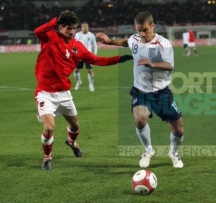 England's David Bentley in action against Austria's Franz Schiemer