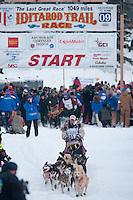 Musher # 31 DeeDee Jonrowe at the Restart of the 2009 Iditarod in Willow Alaska