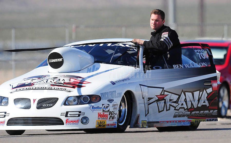 Apr. 4, 2009; Las Vegas, NV, USA: NHRA pro stock driver Ben Watson during qualifying for the Summitracing.com Nationals at The Strip in Las Vegas. Mandatory Credit: Mark J. Rebilas-