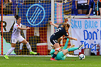 HARRISON, NJ - SEPTEMBER 29: Goalkeeper Ashlyn Harris #24 of the Orlando Pride denies Elizabeth Eddy #19 of Sky Blue FC during a game between Orlando Pride and Sky Blue FC at Red Bull Arena on September 29, 2019 in Harrison, New Jersey.