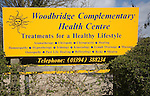 Complementary health centre sign advertising treatments, Woodbridge, Suffolk, Englamd