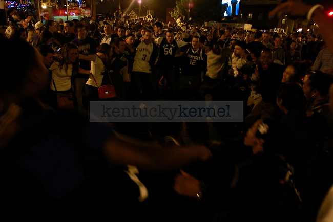 Fans celebrate after the UK-Louisville Final Four game on March 31, 2012, in Lexington, Ky. The Cats won 69-61. Photo by Alex Lovan | StaffFans celebrate after the UK-Louisville Final Four game on March 31, 2012, in Lexington, Ky. The Cats won 69-61. Photo by Alex Lovan | Staff