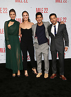 WESTWOOD, CA - AUGUST 9: Lauren Cohan, Ronda Rousey, Iko Uwais, Carlo Alban, at Premiere Of STX Films' &quot;Mile 22&quot; at The Regency Village Theatre in Westwood, California on August 9, 2018.<br /> CAP/MPIFS<br /> &copy;MPIFS/Capital Pictures