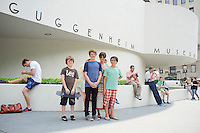 Lucas, Annuska, Felix and Alan outside the Guggenheim. New York summer holiday with family, 2014