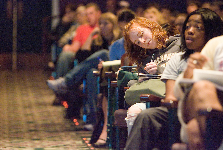 Student Sarah Johnston takes notes during the Scripps College of Communication Celebration.