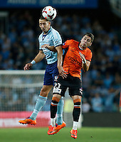 Brisbane Roar Dimitri Petratos (R) and Sydney FC Nikola Petkovic during their A-League match in Sydney, March 14, 2014. Photo by Daniel Munoz/VIEWPRESS  EDITORIAL USE ONLY
