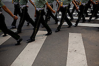 Military police patrol the streets near the Olympic Village in Beijing, China on Tuesday, August 5, 2008. The city of Beijing is gearing up for the opening ceremonies of the Olympic Games.  Kevin German