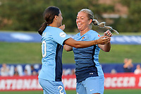 Piscataway, NJ - Saturday August 26, 2017: Samantha Kerr,  Madison Tiernan during a regular season National Women's Soccer League (NWSL) match between Sky Blue FC and the Boston Breakers at Yurcak Field.