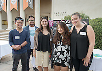Occidental College student Margot Simon '16, far right, shares her InternLA experience working at Visual Communications during the Career Development Center's Reverse Career Fair, Thorne Hall patio, Sept. 3, 2015.<br /> (Photo by Marc Campos, Occidental College Photographer)