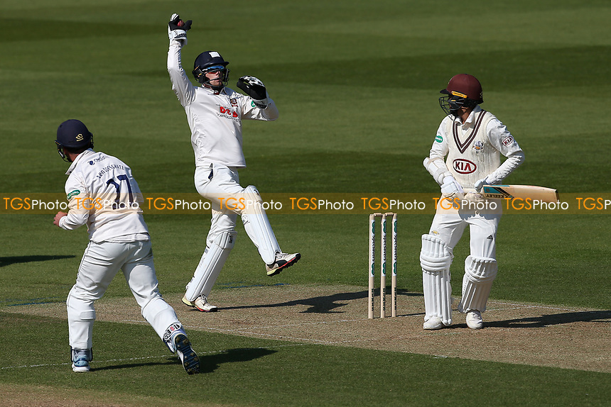 Robbie White of Essex leaps to catch a high Simon Harmer delivery during Surrey CCC vs Essex CCC, Specsavers County Championship Division 1 Cricket at the Kia Oval on 11th April 2019