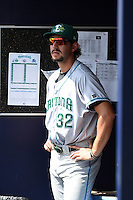 Daytona Tortugas pitcher Zack Weiss (32) in the dugout during a game against the Charlotte Stone Crabs on April 14, 2015 at Charlotte Sports Park in Port Charlotte, Florida.  Charlotte defeated Daytona 2-0.  (Mike Janes/Four Seam Images)