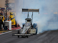 Jul 20, 2018; Morrison, CO, USA; NHRA top fuel driver Tony Schumacher during qualifying for the Mile High Nationals at Bandimere Speedway. Mandatory Credit: Mark J. Rebilas-USA TODAY Sports