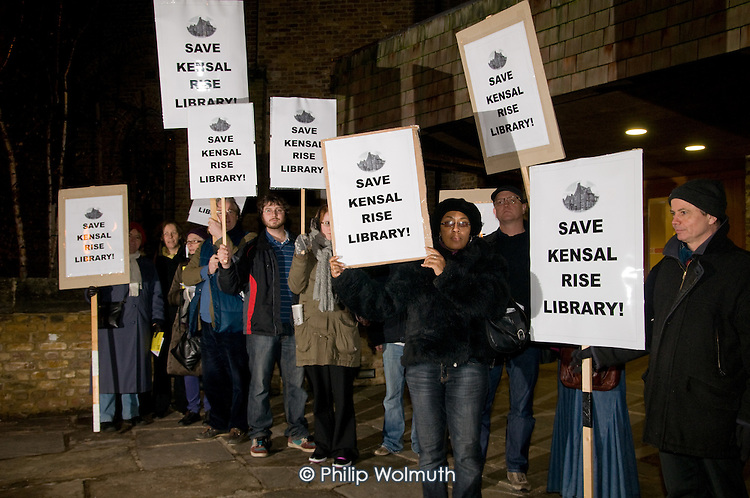 Protest outside a Brent Council consultation meeting in All Souls Church, Harlesden, by opponents of the proposed closure of Kensal Rise library, one of six libraries in the borough threatened with closure as a result of  government spending cuts.