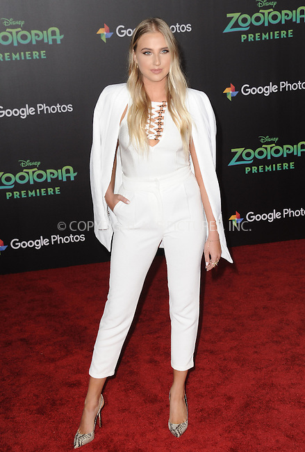 WWW.ACEPIXS.COM<br /> <br /> February 17 2016, LA<br /> <br /> Veronica Dunne attending the premiere of Walt Disney Animation Studios' 'Zootopia' at the El Capitan Theatre on February 17, 2016 in Hollywood, California. <br /> <br /> <br /> By Line: Peter West/ACE Pictures<br /> <br /> <br /> ACE Pictures, Inc.<br /> tel: 646 769 0430<br /> Email: info@acepixs.com<br /> www.acepixs.com